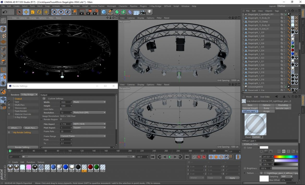 circle square truss 400cm-stage lights 3d model 3ds max fbx c4d dae  obj other 298984