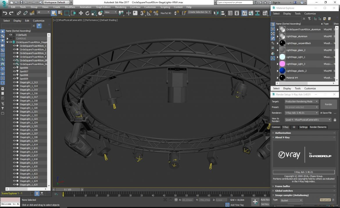 circle square truss 400cm-stage lights 3d model 3ds max fbx c4d dae  obj other 298985