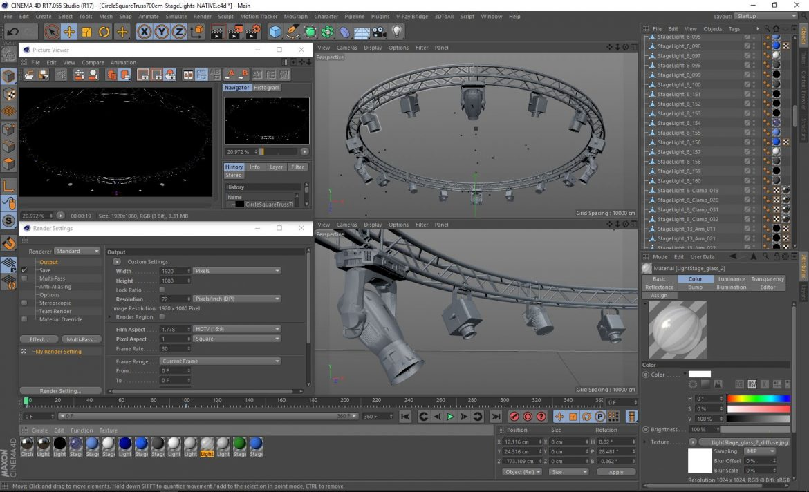 circle square truss 700cm-stage lights 3d model 3ds max fbx c4d dae  obj other 299005