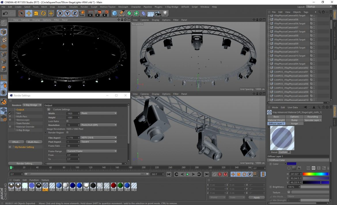 circle square truss 700cm-stage lights 3d model 3ds max fbx c4d dae  obj other 299006