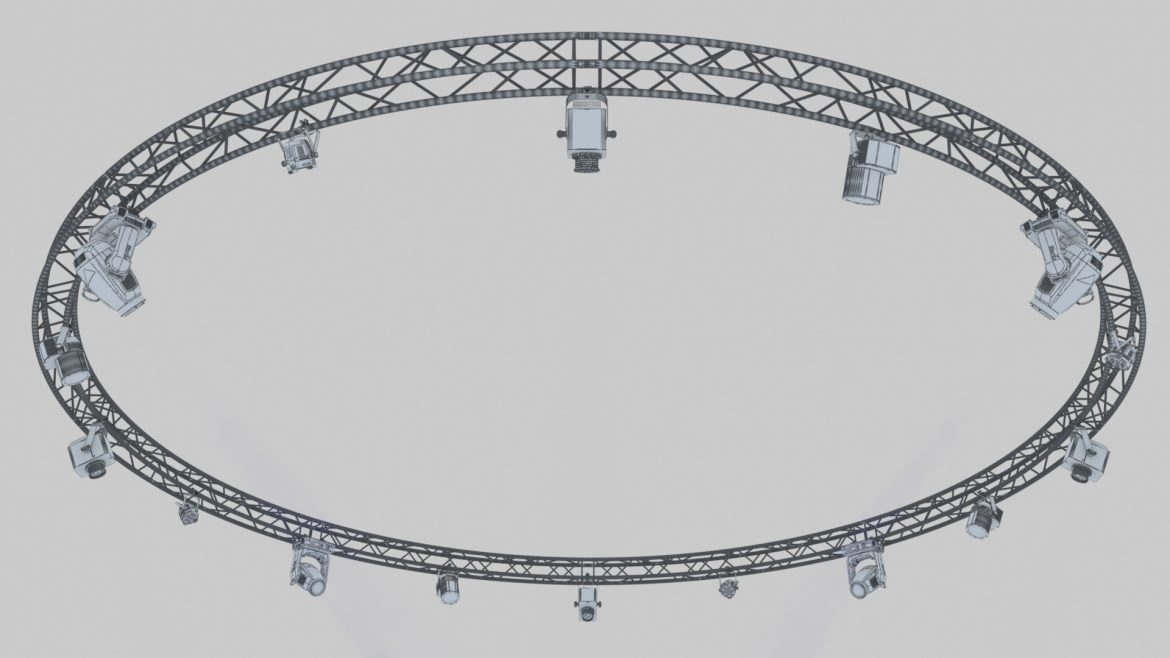 circle square truss1000cm-stage lights 3d model 3ds max fbx c4d dae  obj other 299010
