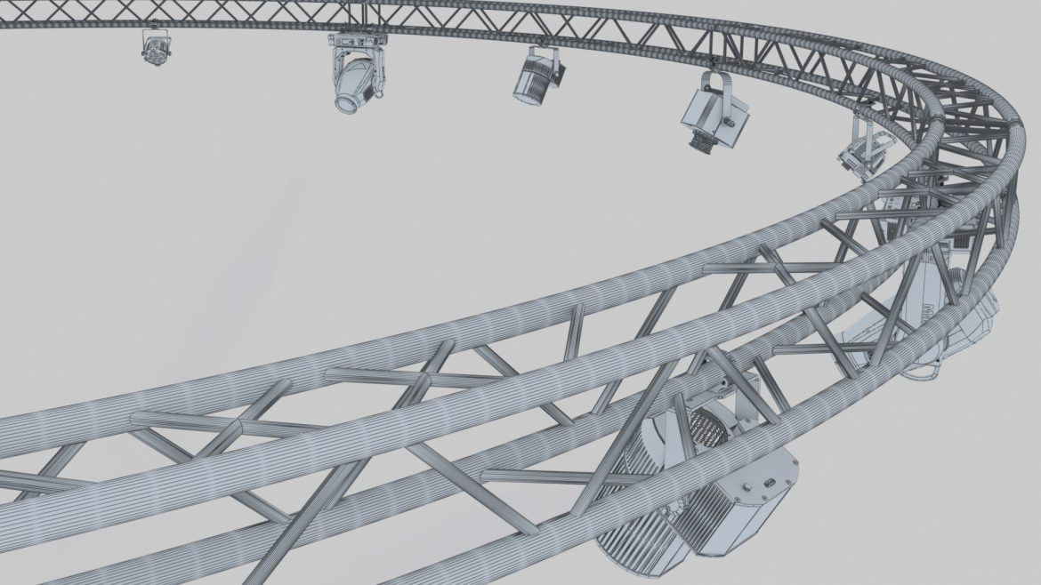 circle square truss1000cm-stage lights 3d model 3ds max fbx c4d dae  obj other 299018