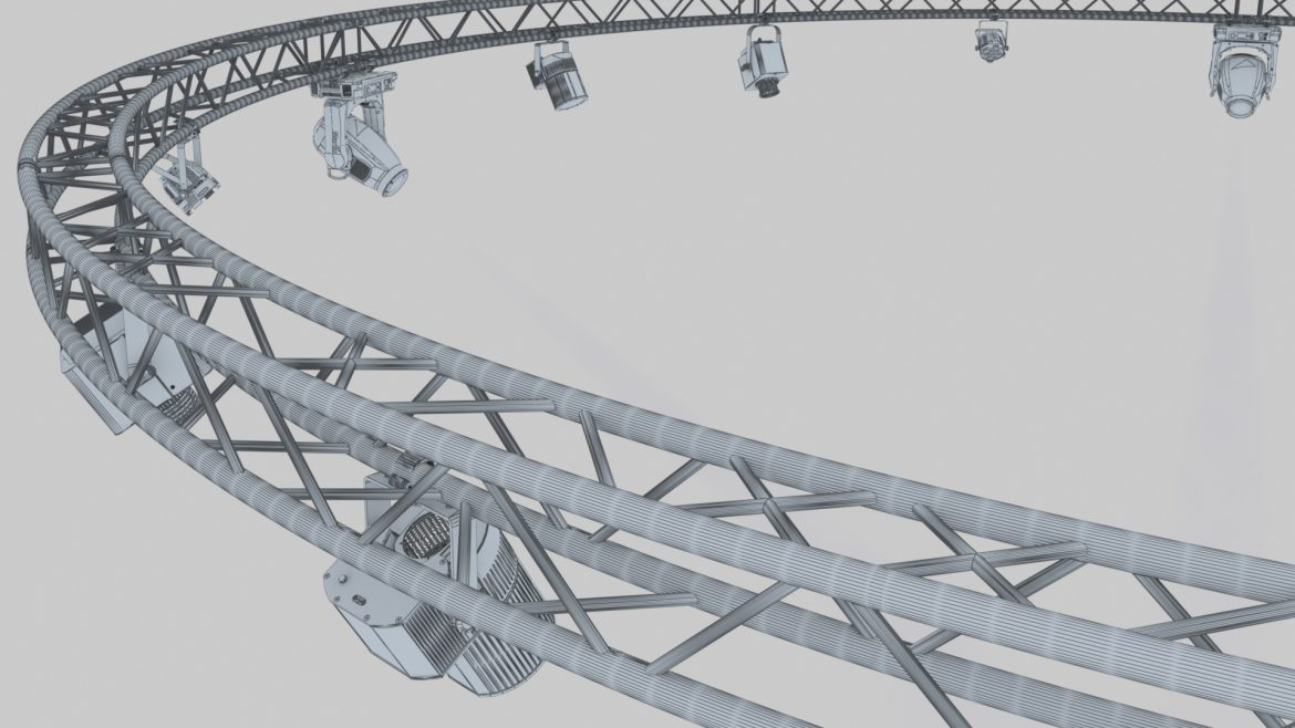 circle square truss1000cm-stage lights 3d model 3ds max fbx c4d dae  obj other 299020