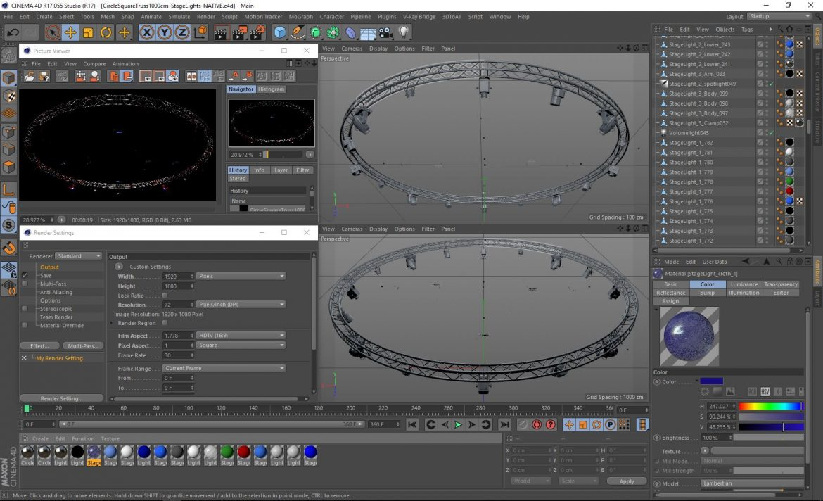 circle square truss1000cm-stage lights 3d model 3ds max fbx c4d dae  obj other 299025