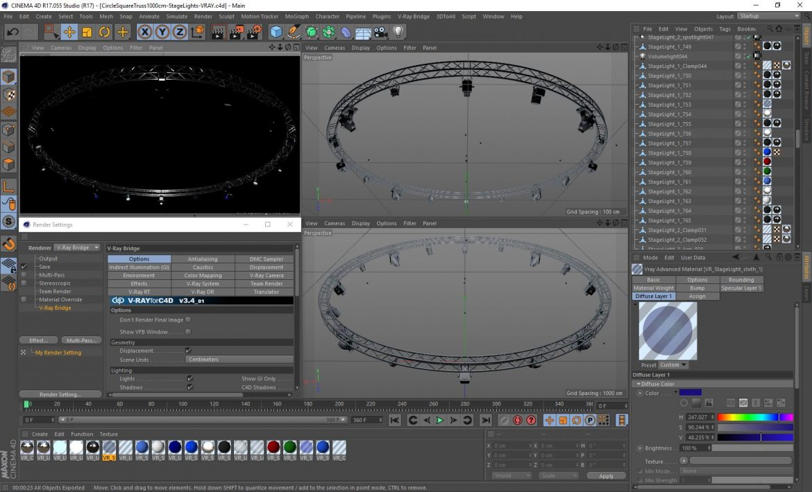circle square truss1000cm-stage lights 3d model 3ds max fbx c4d dae  obj other 299026