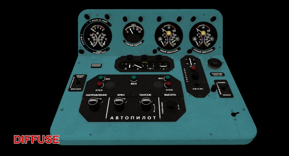 mi-8mt mi-17mt central panels board russian 3d model 3ds max fbx obj 299272