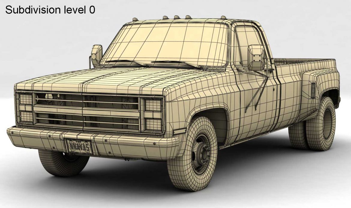 generic dually pickup truck 1 3d model 3ds max fbx obj 299402