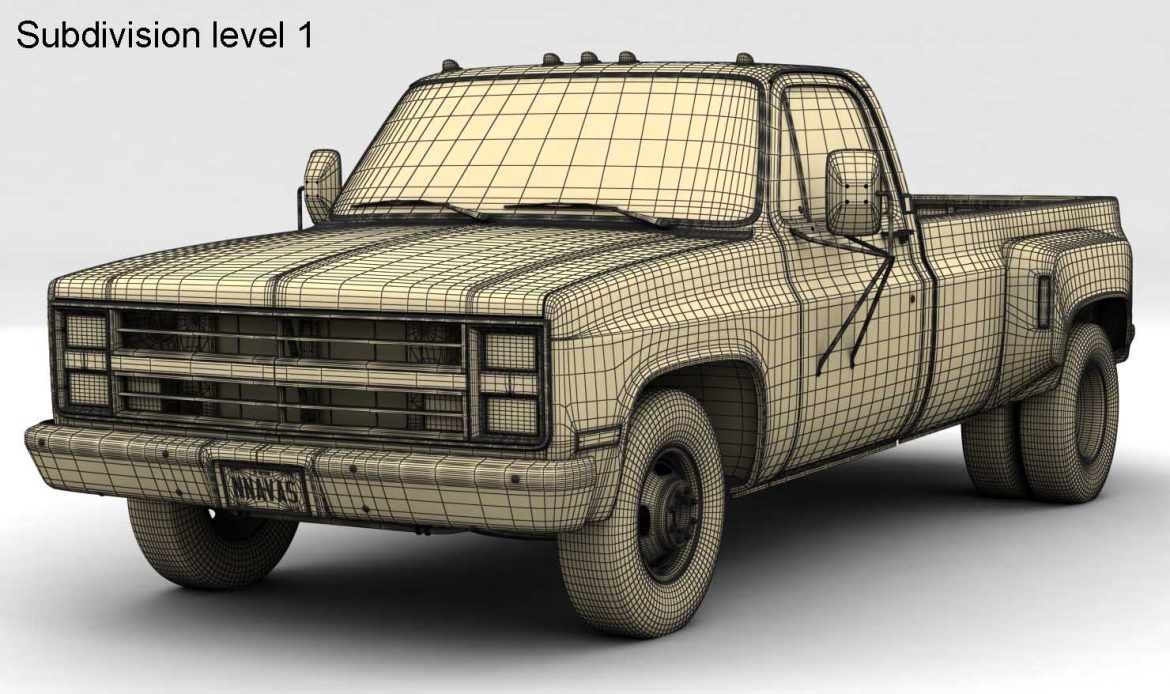 generic dually pickup truck 1 3d model 3ds max fbx obj 299403