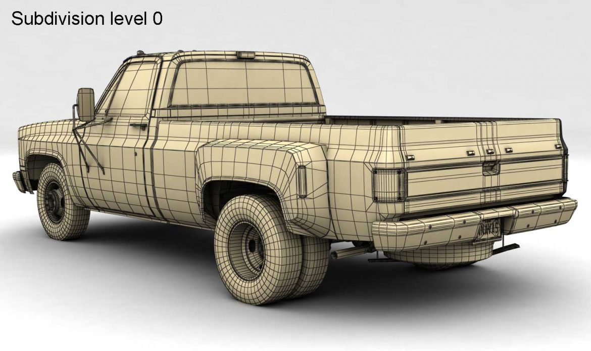 generic dually pickup truck 1 3d model 3ds max fbx obj 299404
