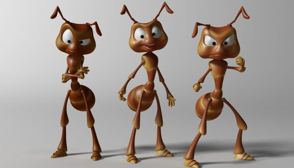 cartoon ant rigged 3d model 3ds max fbx  obj 299536