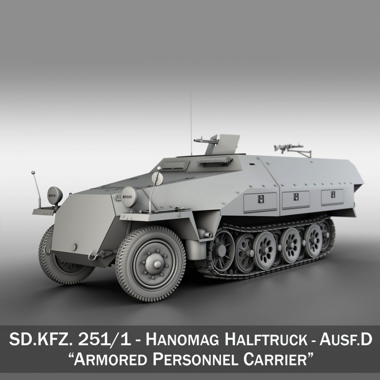 sd.kfz 251/1 ausf.d – hanomag half-truck 3d model 3ds fbx c4d lwo obj 299554