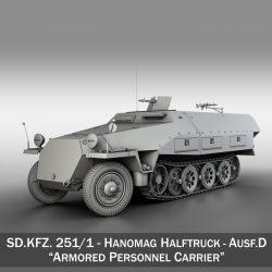 sd.kfz 251 / 1 ausf.d - Hanomag puspiekabe 3d modelis 3ds fbx c4d lwo obj 299554