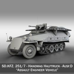 sd.kfz 251 / 7 ausf.d - uzbrukuma inženiera transportlīdzeklis 3d modelis 3ds fbx c4d lwo obj 299572