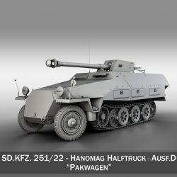 sd.kfz 251 / 22 - ausf.d - pakwagen model 3d 3ds fbx c4d lwo obj 299591