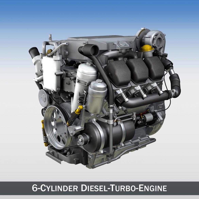diesel turbo – 6-cylinder engine 3d model 3ds fbx c4d lwo obj 299636
