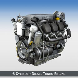 diesel turbo - 6-silinder engine 3d model 3ds fbx c4d kanggo 299636