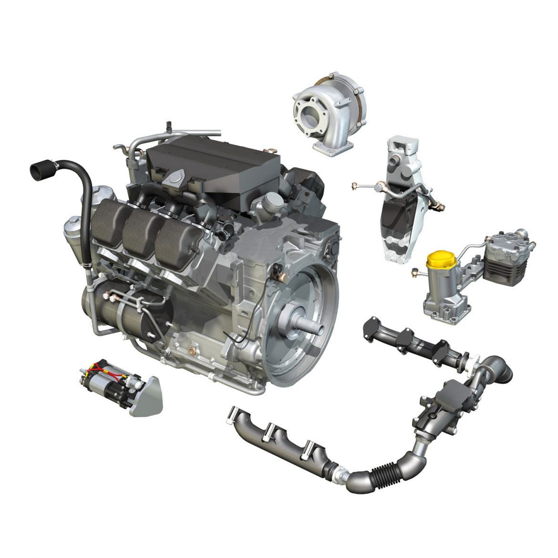 diesel turbo – 6-cylinder engine 3d model 3ds fbx c4d lwo obj 299642