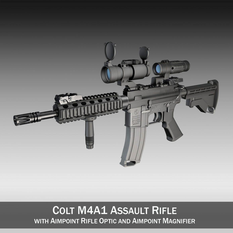 colt m4a1 - sopmod - aimpoint 3d загвар c4d 3ds fbx lwo lws obw 299653