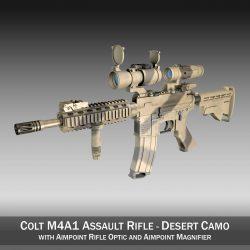 colt m4a1 – sopmod – aimpoint – desert camo 3d model 3ds c4d lwo obj 299671