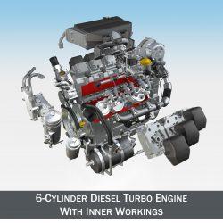 dísel turbo vél með innri hlutum 3d líkan 3ds fbx c4d lwo obj 299688