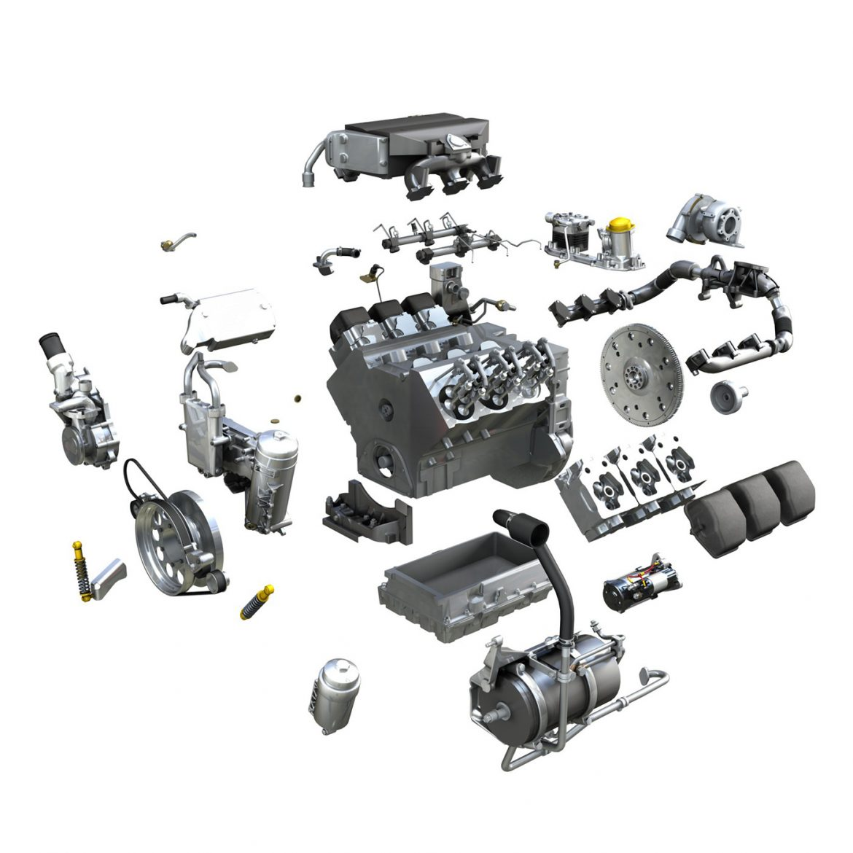 diesel turbo engine with interior parts 3d model 3ds fbx c4d lwo obj 299703