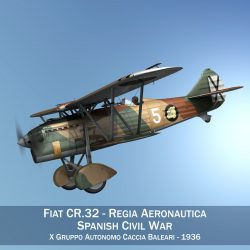 fiat cr.32 – italy air force – x gruppo 3d model fbx c4d lwo obj 300022