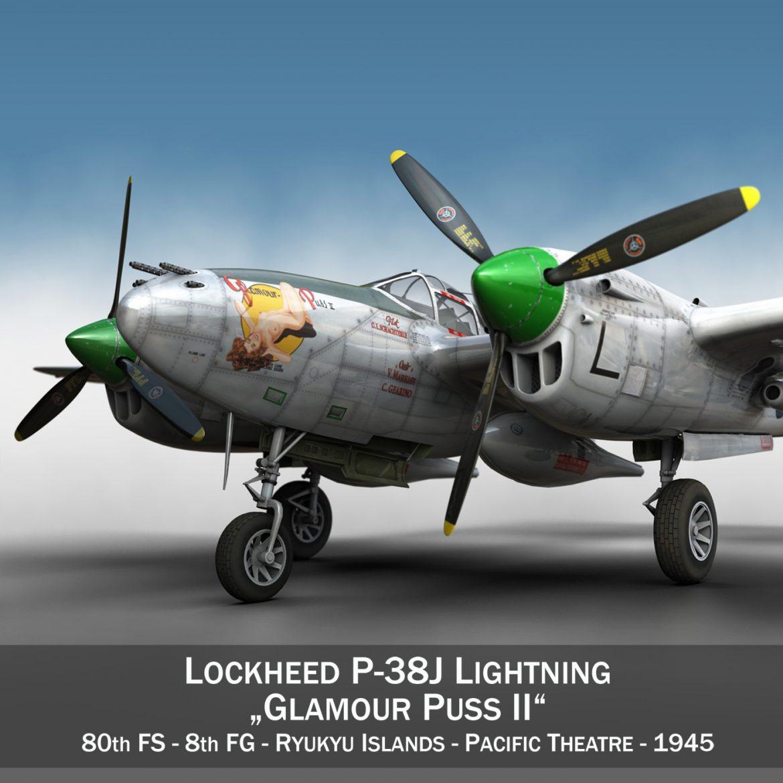 lockheed p-38 lightning – glamour puss ii 3d model fbx c4d lwo obj 300051
