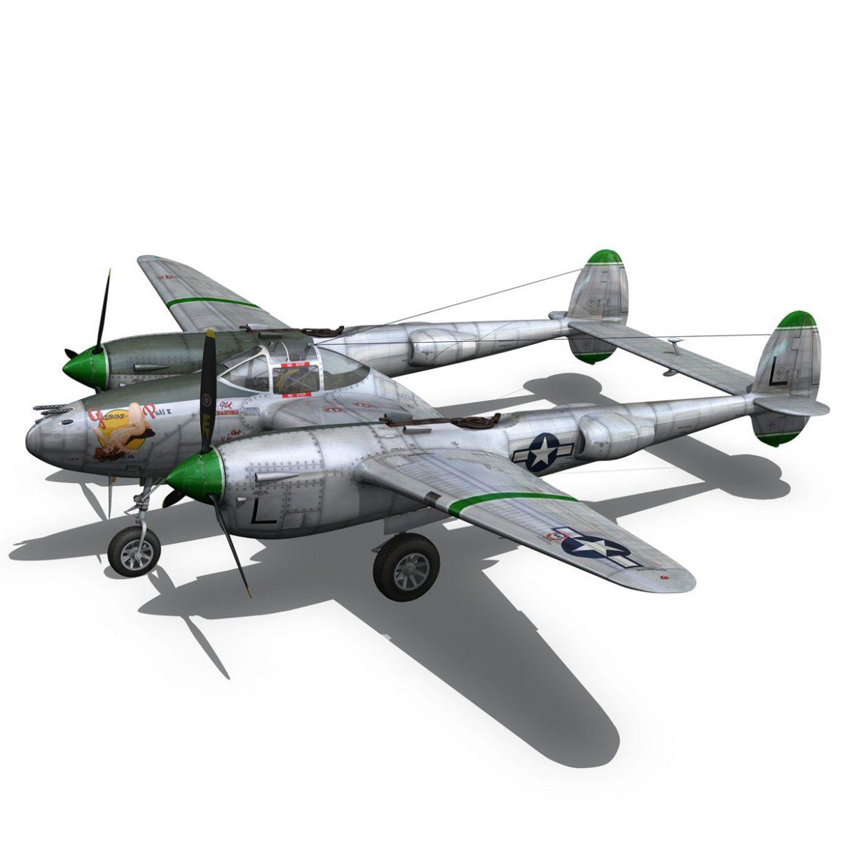 lockheed p-38 lightning – glamour puss ii 3d model fbx c4d lwo obj 300063