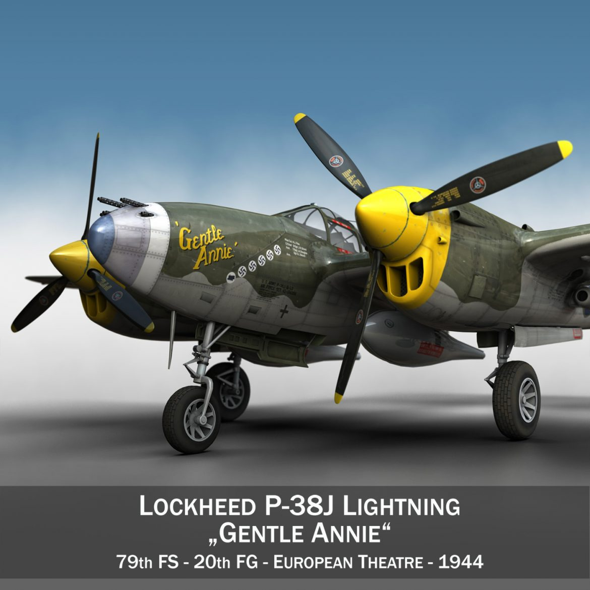 lockheed p-38 lightning – gentle annie 3d model fbx c4d lwo obj 300078