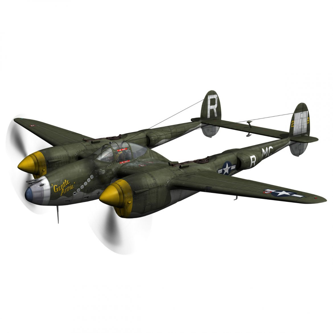 lockheed p-38 lightning – gentle annie 3d model fbx c4d lwo obj 300081