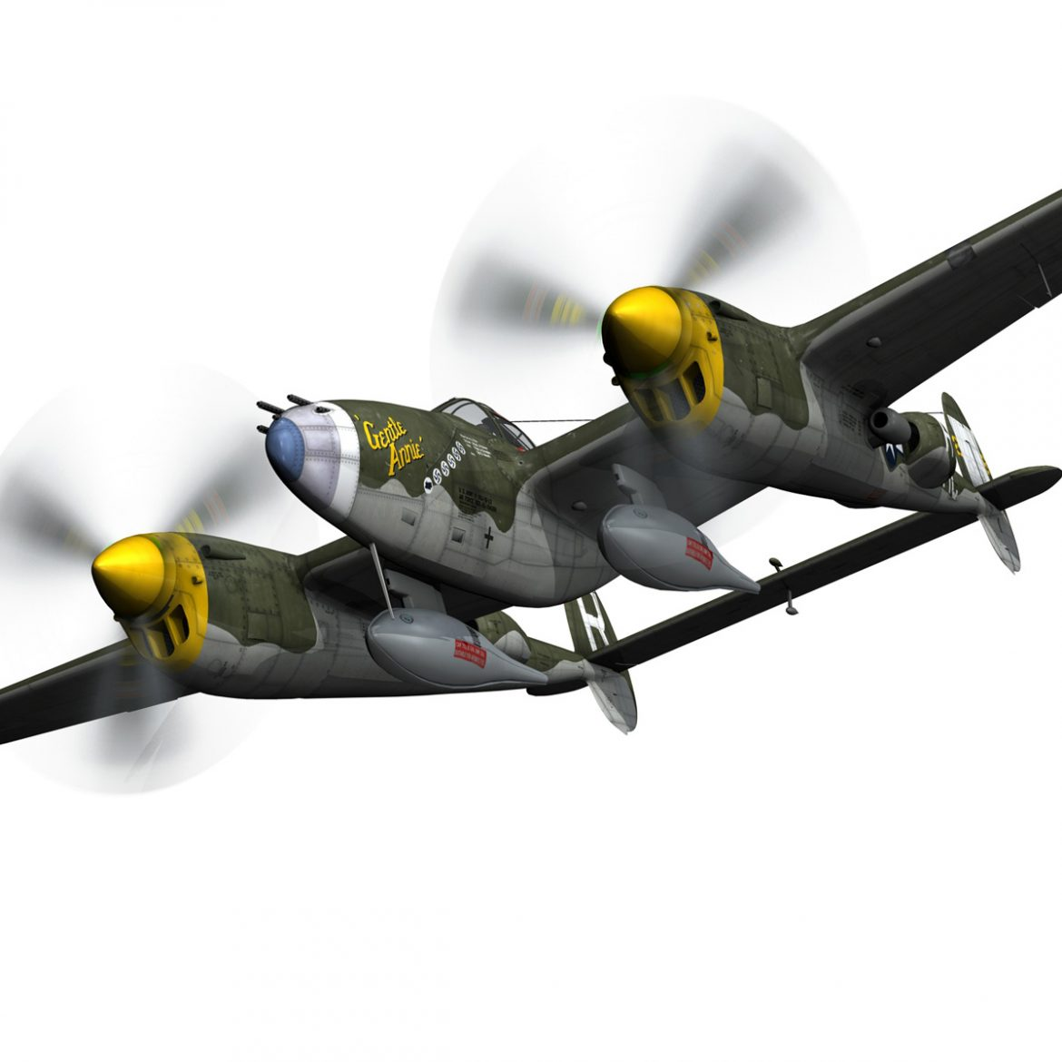 lockheed p-38 lightning – gentle annie 3d model fbx c4d lwo obj 300082