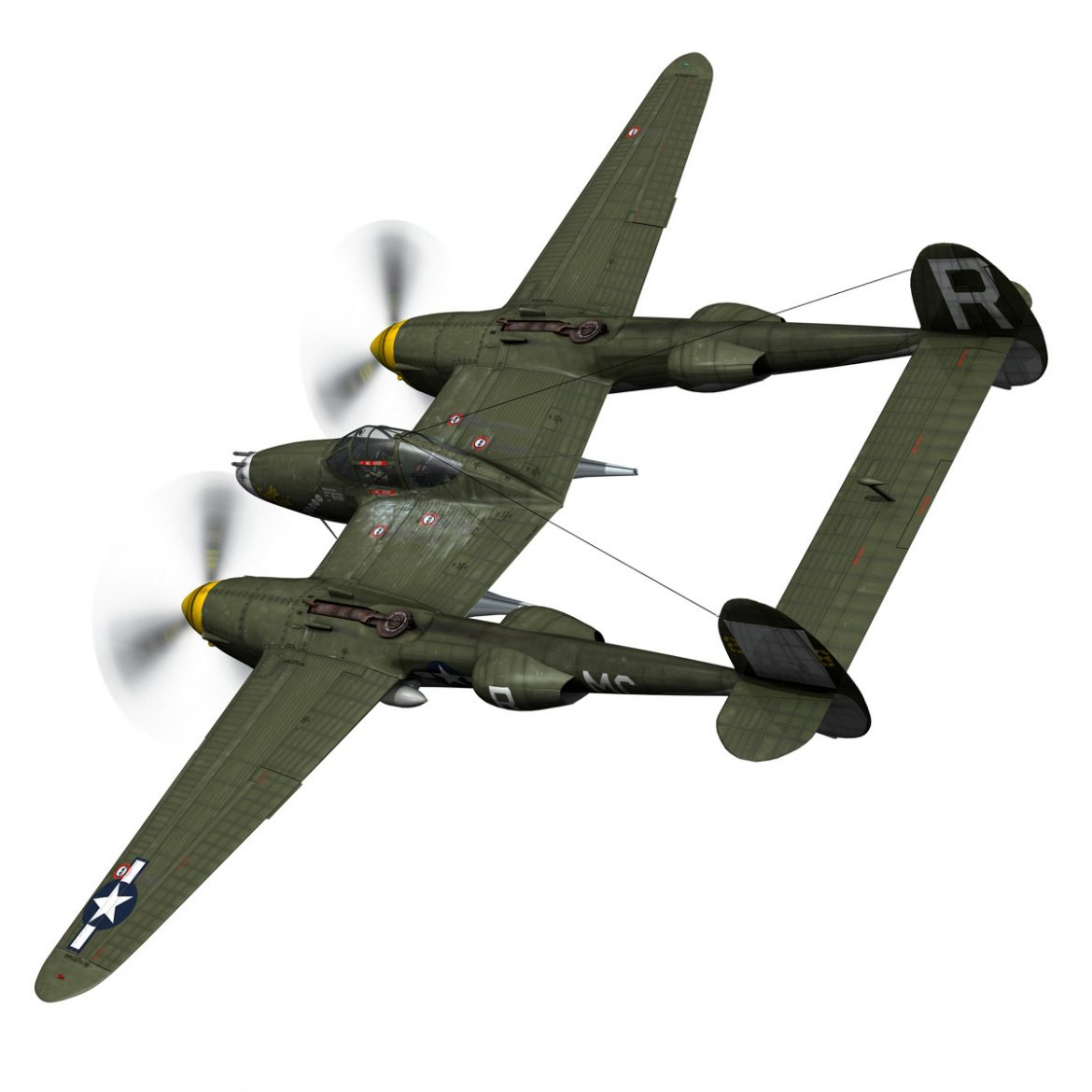 lockheed p-38 lightning – gentle annie 3d model fbx c4d lwo obj 300083