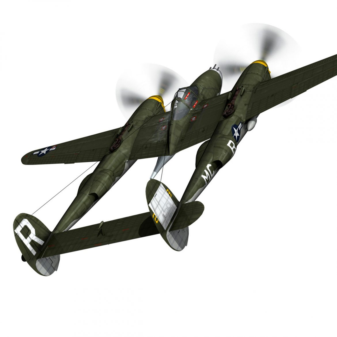 lockheed p-38 lightning – gentle annie 3d model fbx c4d lwo obj 300084