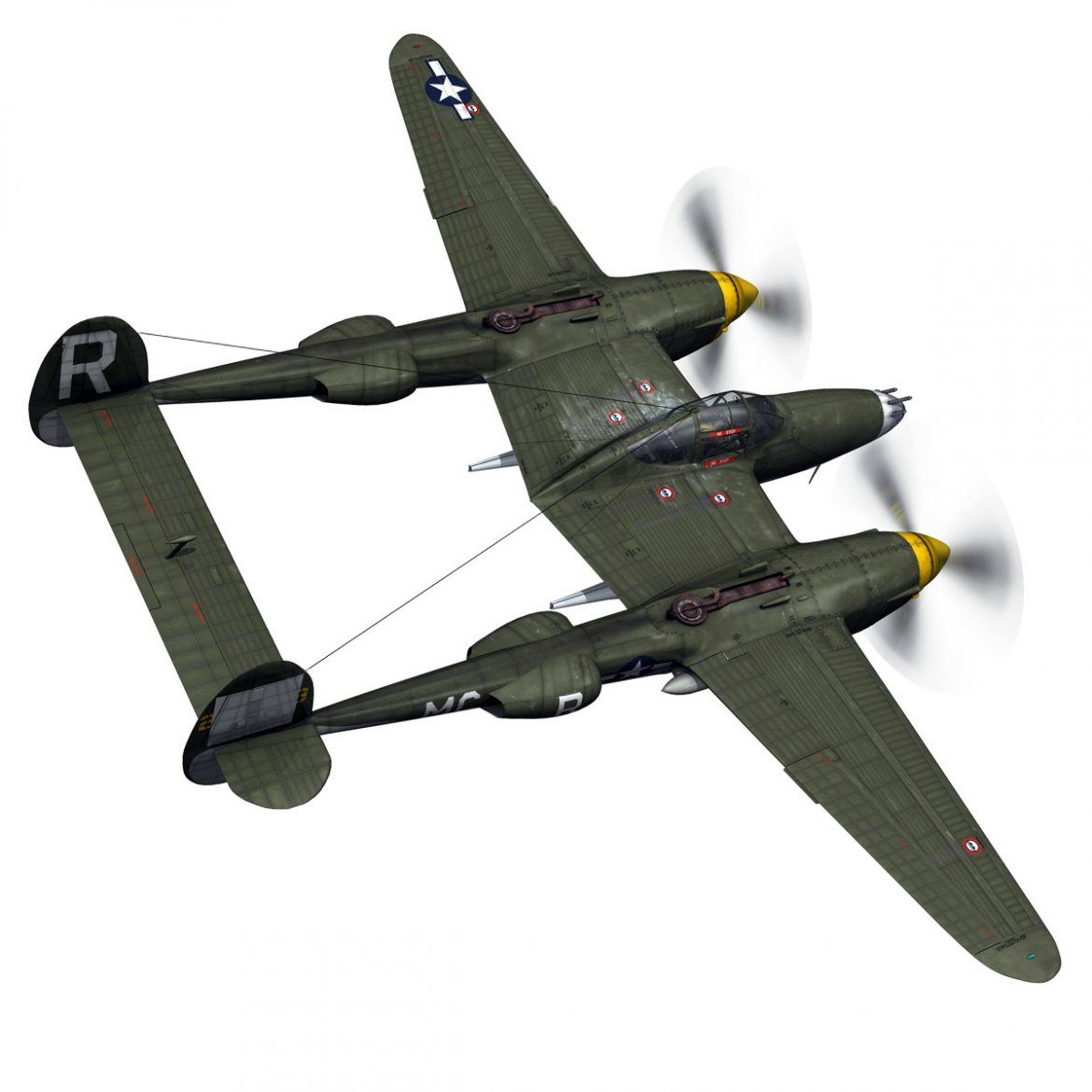 lockheed p-38 lightning – gentle annie 3d model fbx c4d lwo obj 300085