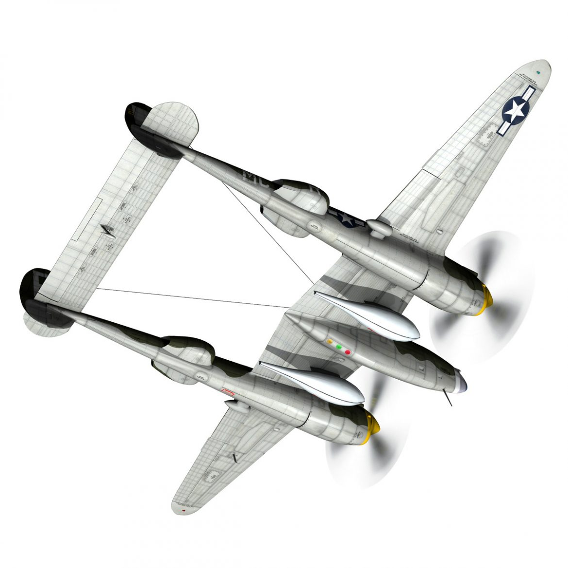 lockheed p-38 lightning – gentle annie 3d model fbx c4d lwo obj 300086