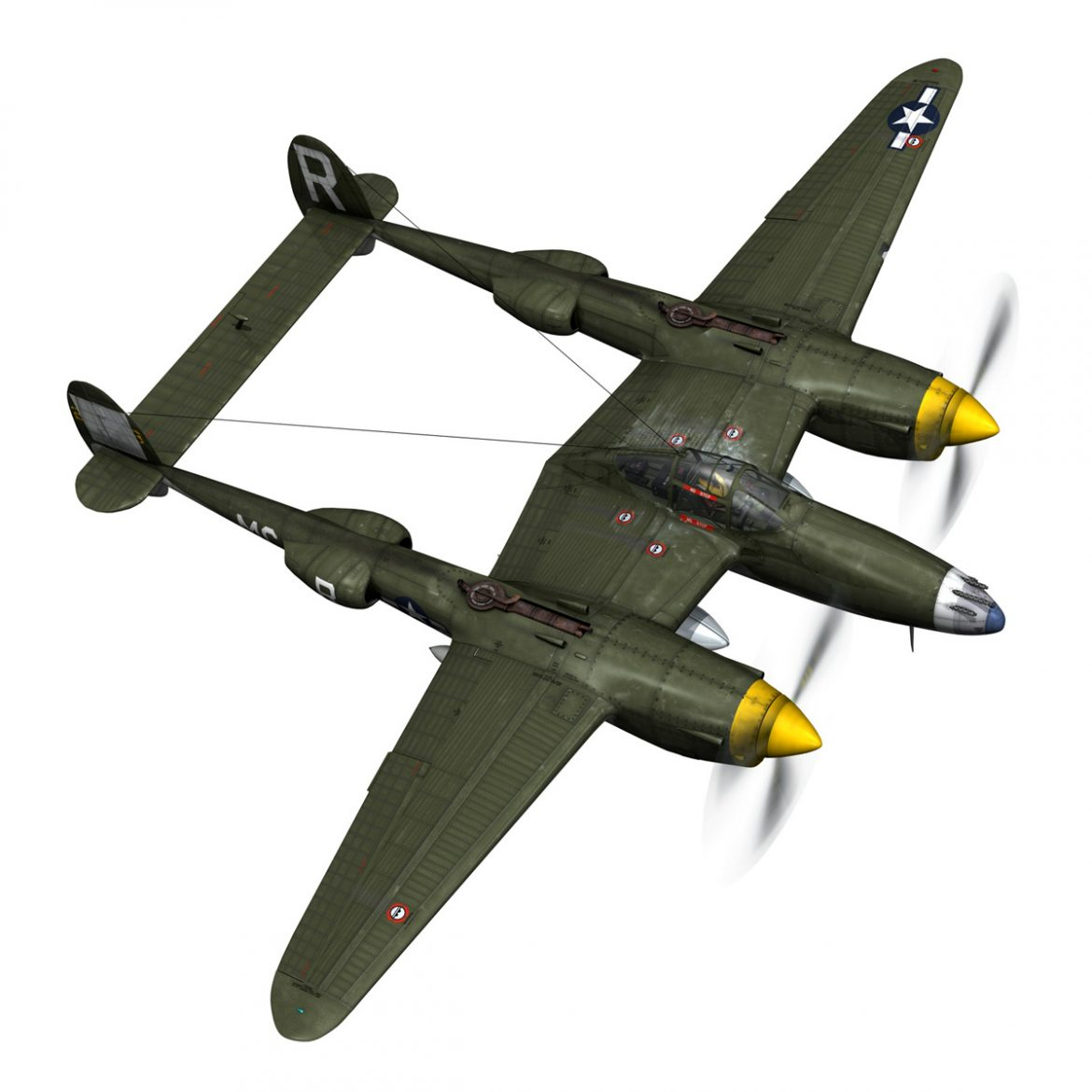 lockheed p-38 lightning – gentle annie 3d model fbx c4d lwo obj 300087