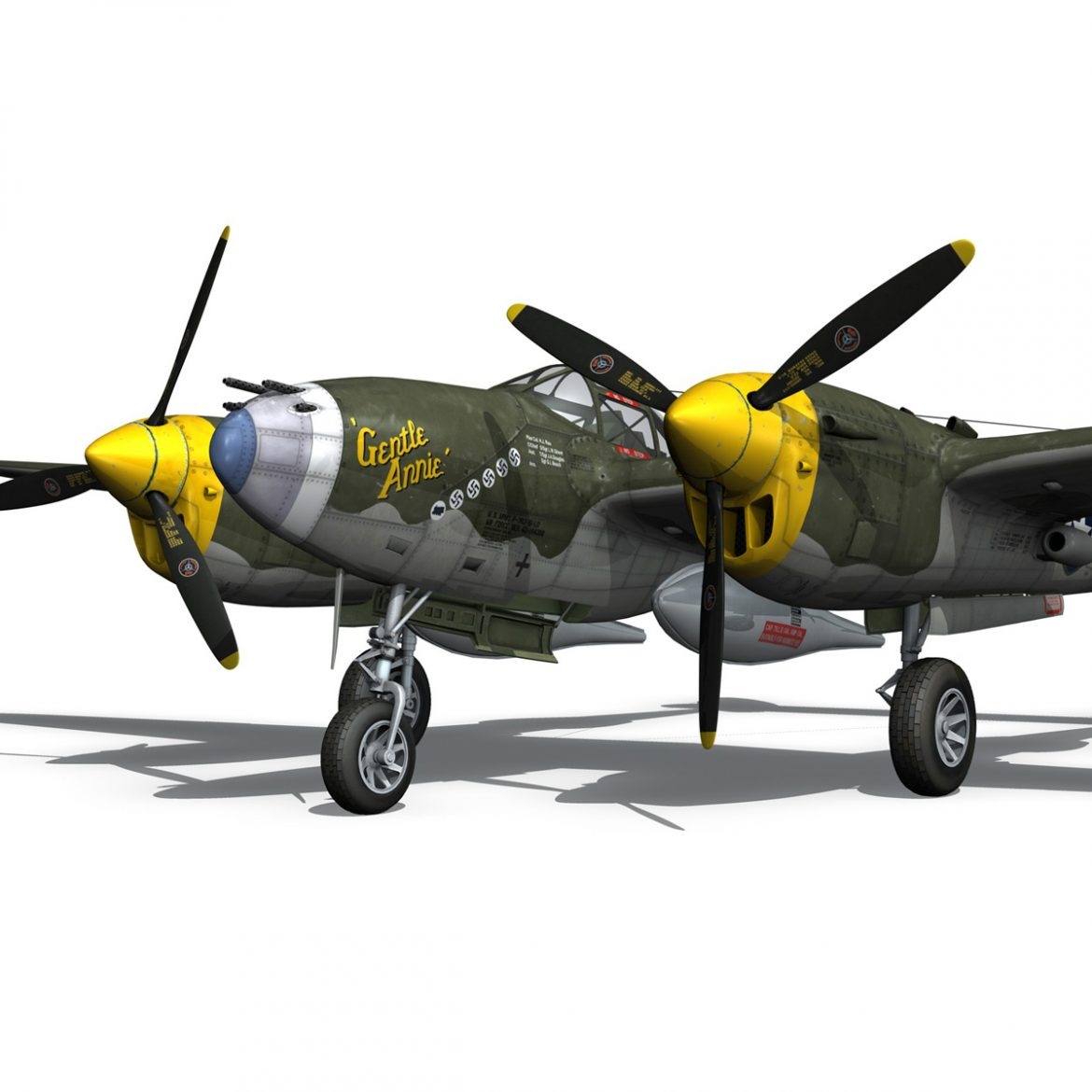 lockheed p-38 lightning – gentle annie 3d model fbx c4d lwo obj 300088