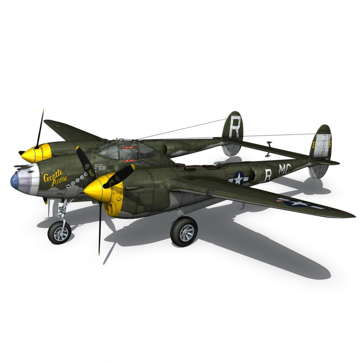 lockheed p-38 lightning – gentle annie 3d model fbx c4d lwo obj 300089