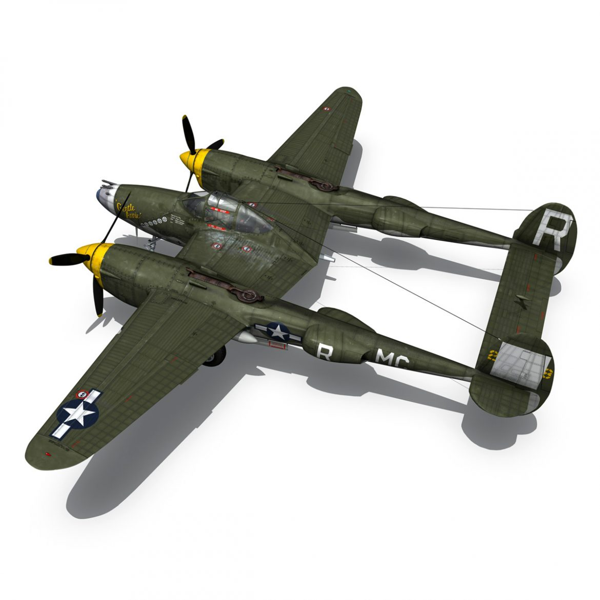 lockheed p-38 lightning – gentle annie 3d model fbx c4d lwo obj 300090