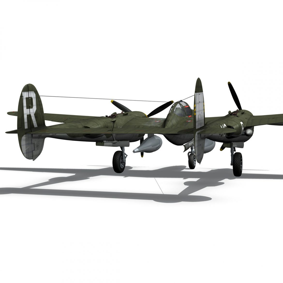 lockheed p-38 lightning – gentle annie 3d model fbx c4d lwo obj 300091