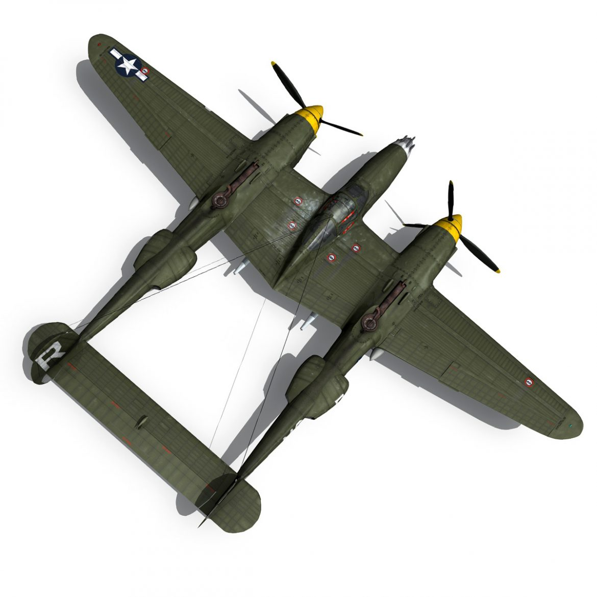 lockheed p-38 lightning – gentle annie 3d model fbx c4d lwo obj 300092