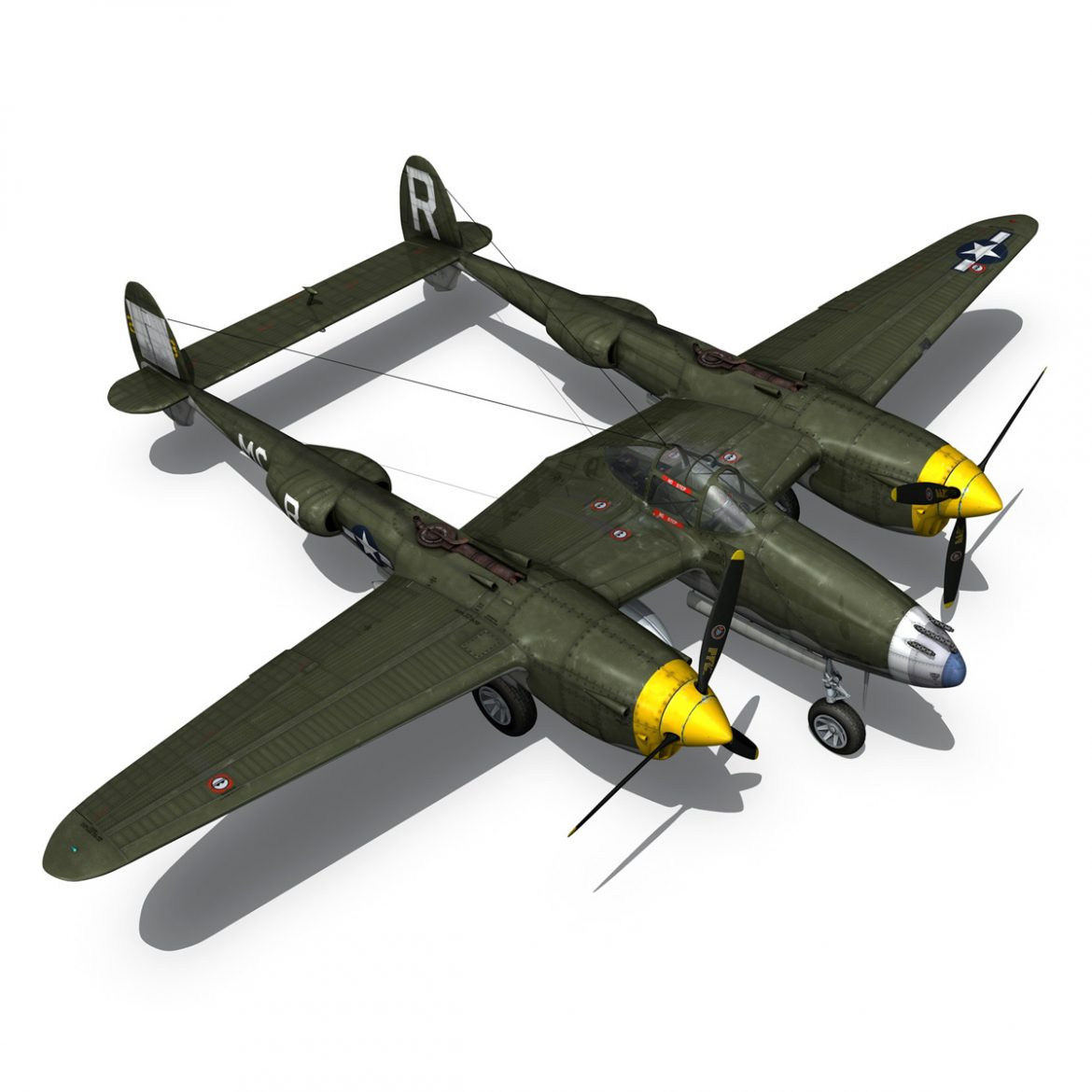 lockheed p-38 lightning – gentle annie 3d model fbx c4d lwo obj 300093