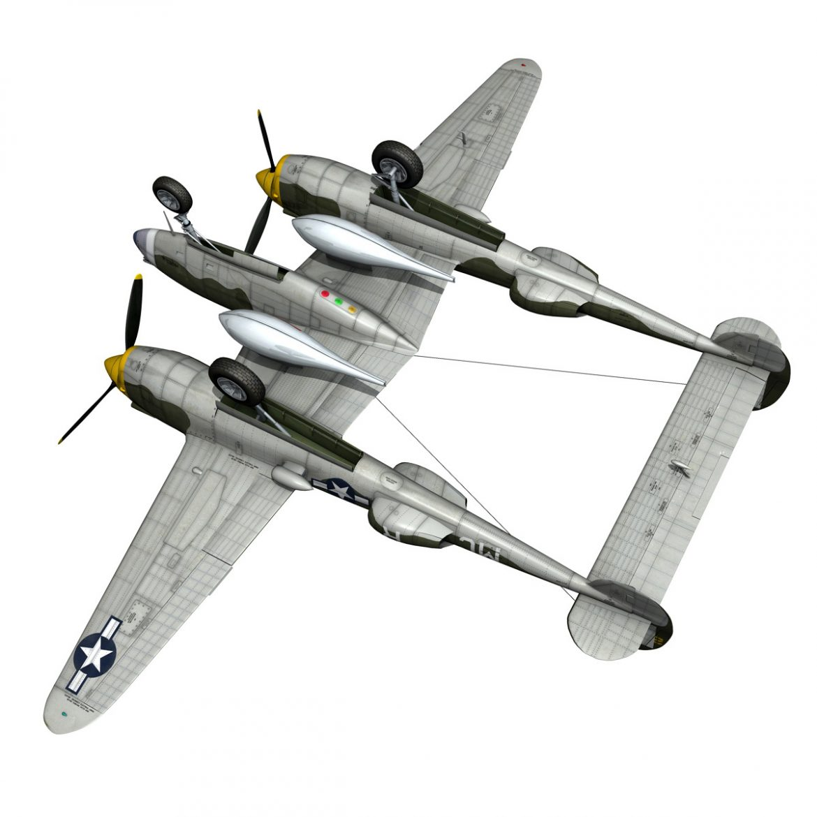 lockheed p-38 lightning – gentle annie 3d model fbx c4d lwo obj 300095