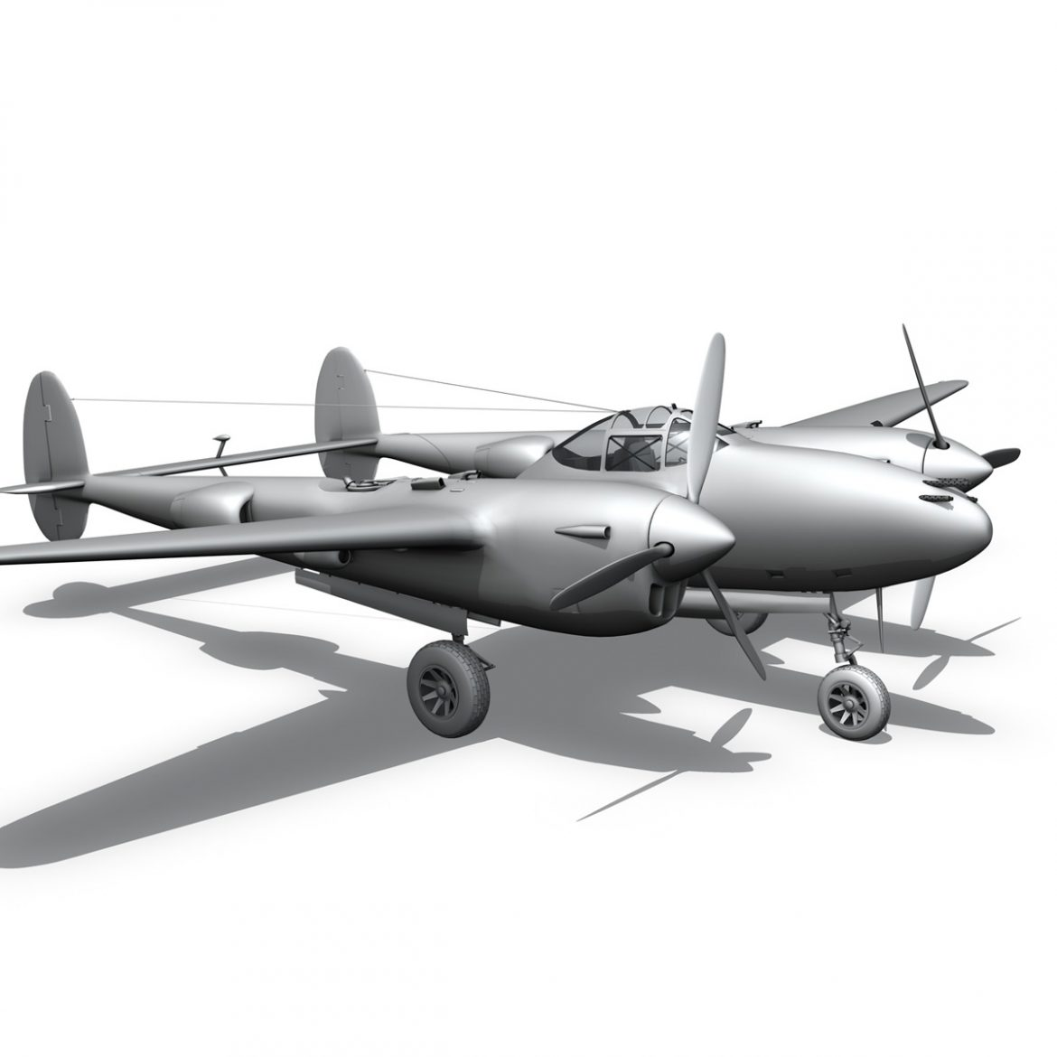 lockheed p-38 lightning – gentle annie 3d model fbx c4d lwo obj 300096