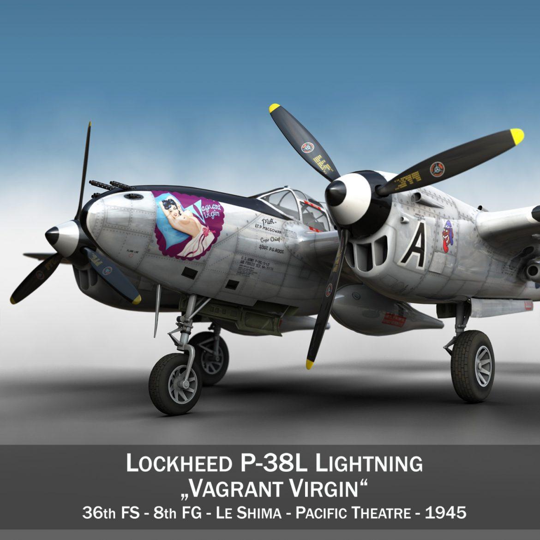 lockheed p-38 lightning – vagrant virgin 3d model fbx c4d lwo obj 300240