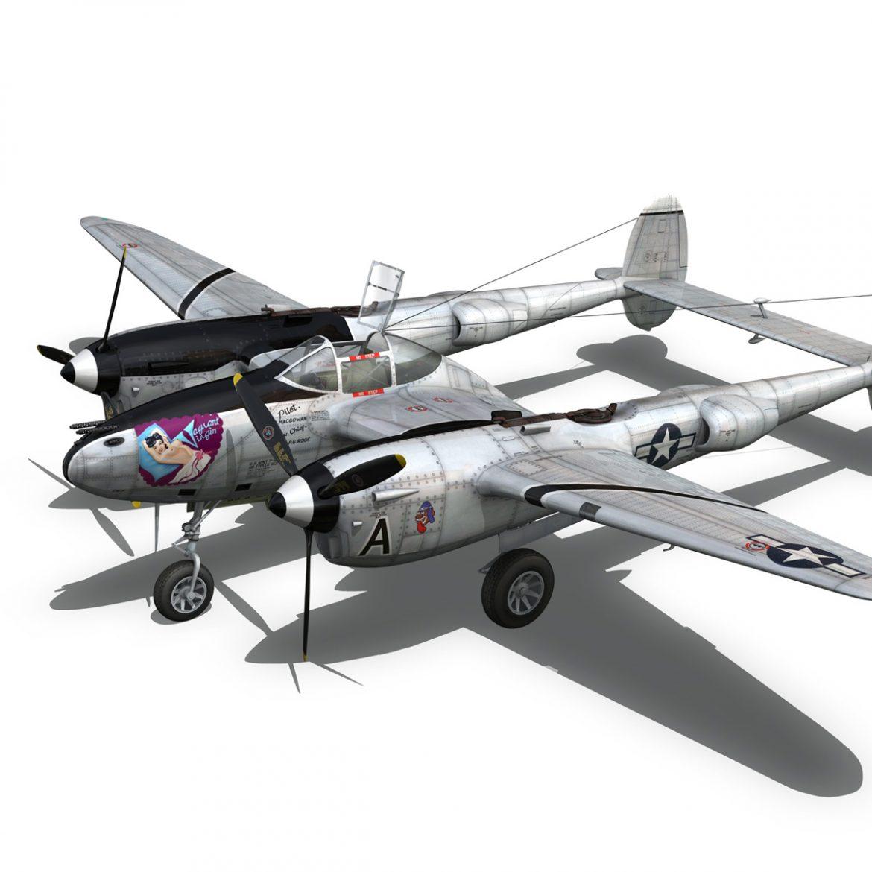 lockheed p-38 lightning – vagrant virgin 3d model fbx c4d lwo obj 300255