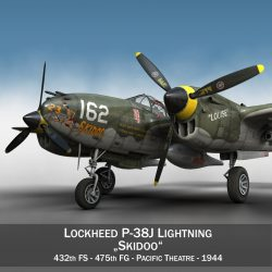 lockheed p-38 lightning – skidoo 3d model 3ds fbx c4d lwo obj 300268
