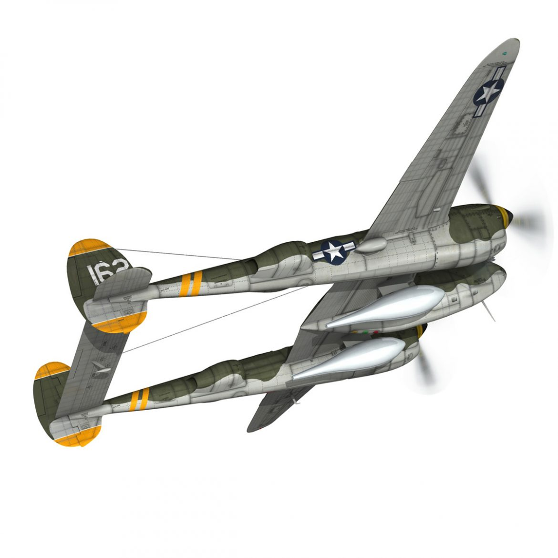 lockheed p-38 lightning – skidoo 3d model 3ds fbx c4d lwo obj 300274
