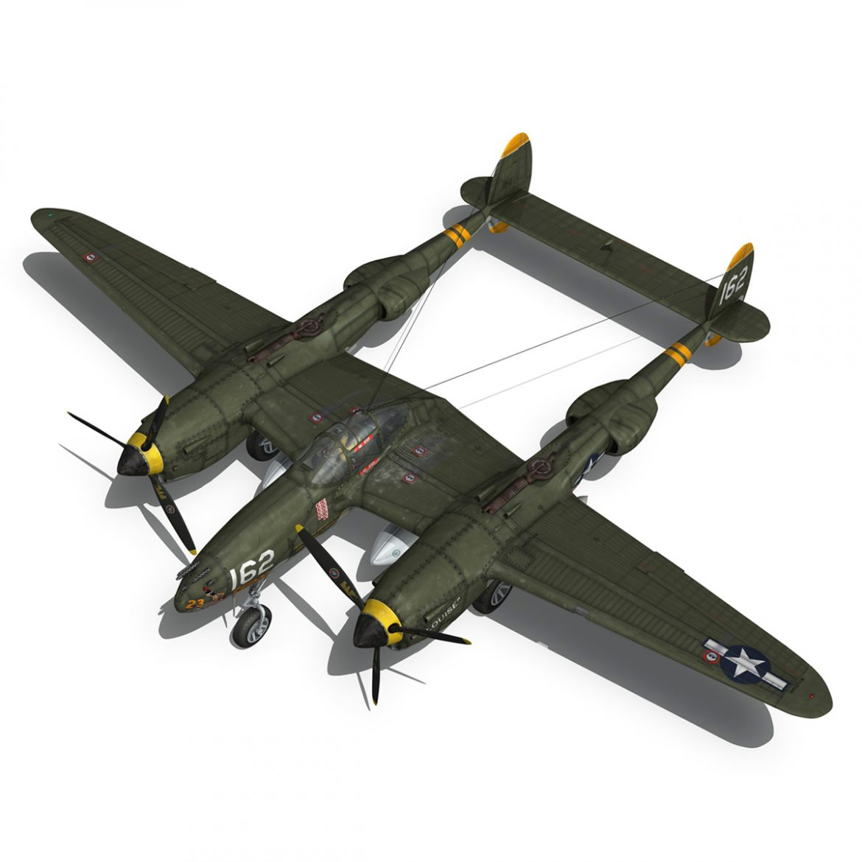 lockheed p-38 lightning – skidoo 3d model 3ds fbx c4d lwo obj 300277