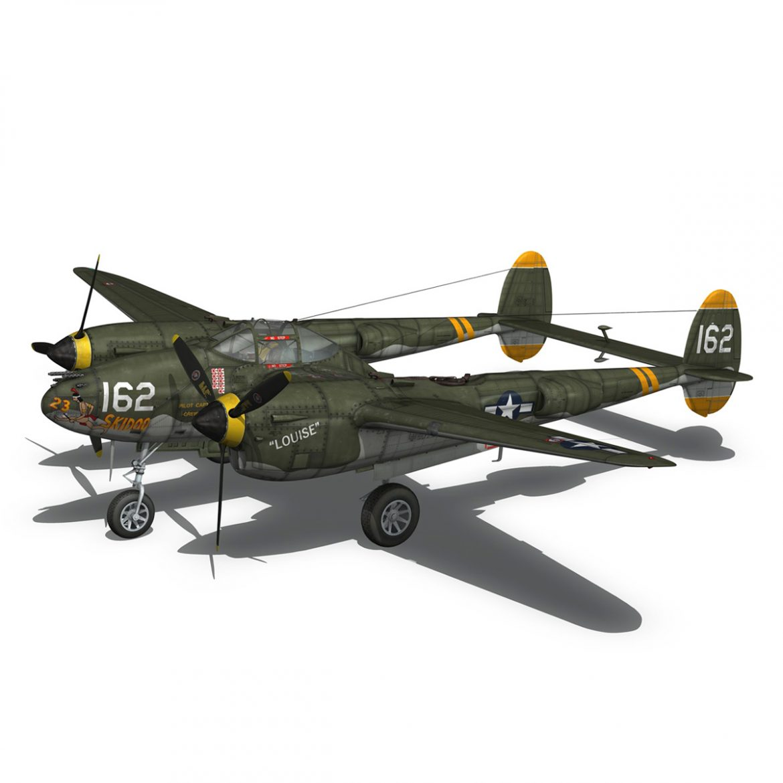 lockheed p-38 lightning – skidoo 3d model 3ds fbx c4d lwo obj 300279